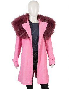 Modern Love Anne Hathaway Pink Trench Coat With Faux Fur Collar