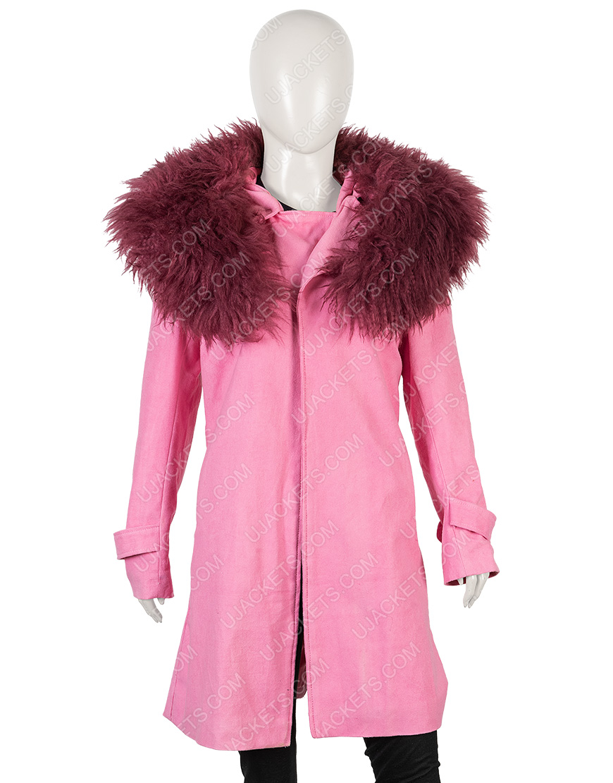 exquisite style discount sale buy sale Anne Hathaway Modern Love Faux Fur Collar Pink Trench Coat