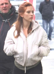 Natasha Romanoff White Jacket with hooded Collar
