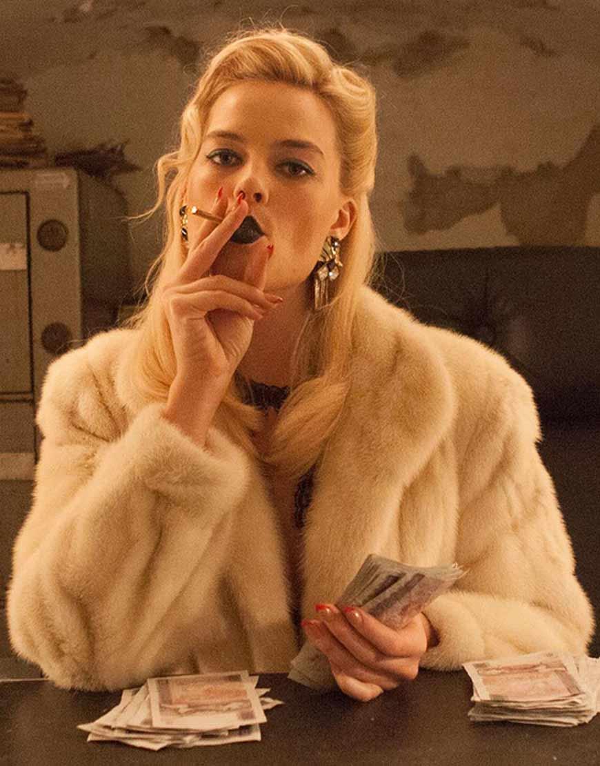 Terminal Margot Robbie Annie Faux Fur White Coat