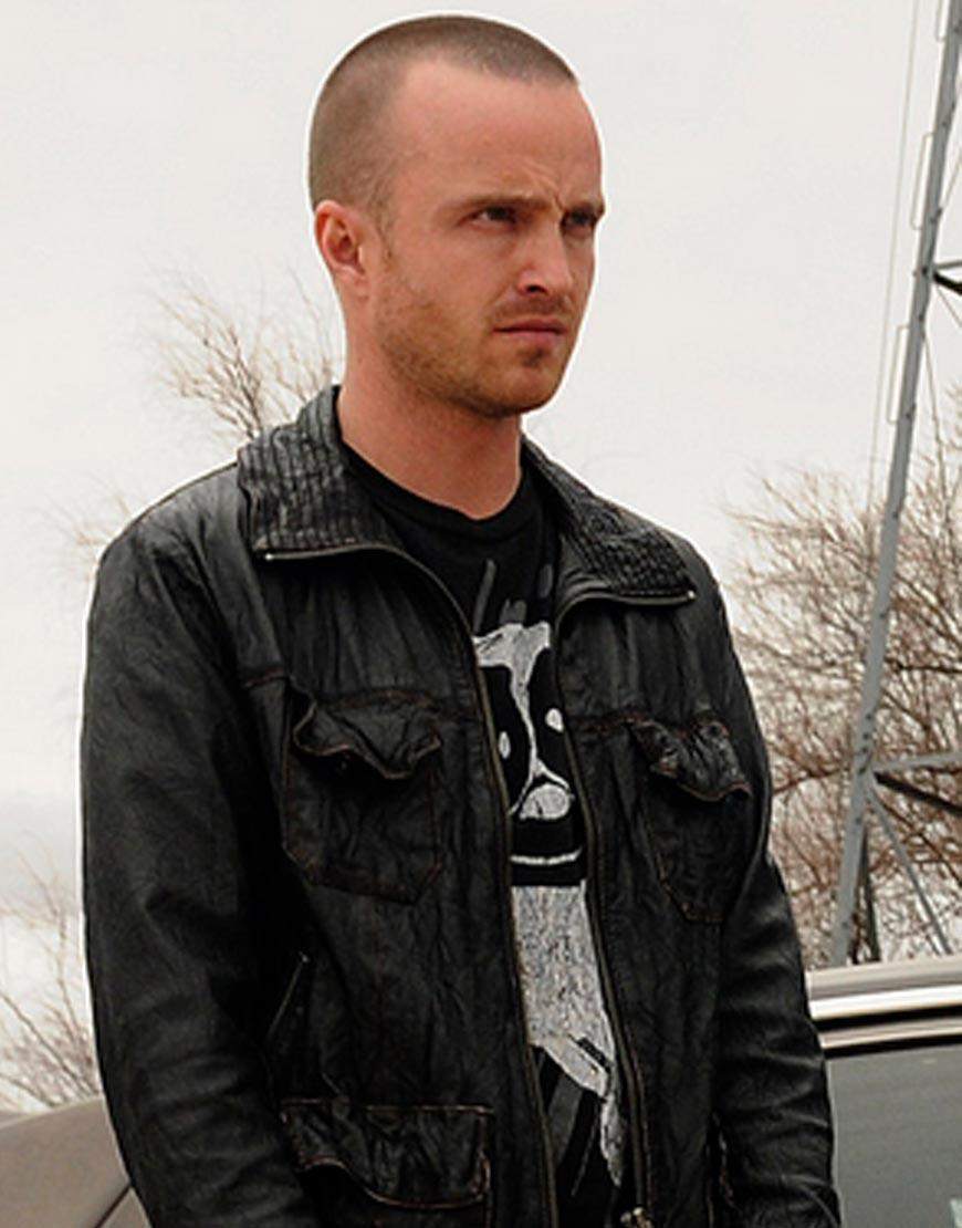 Aaron-Paul-Breaking-Bad-Black-Leather-Jacket