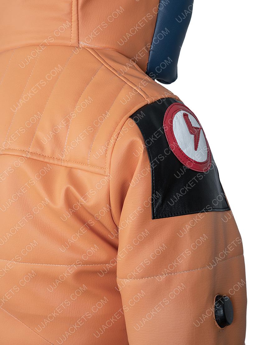 Apex Legends Seasona 2 Orange Leather Hoodie Jacket