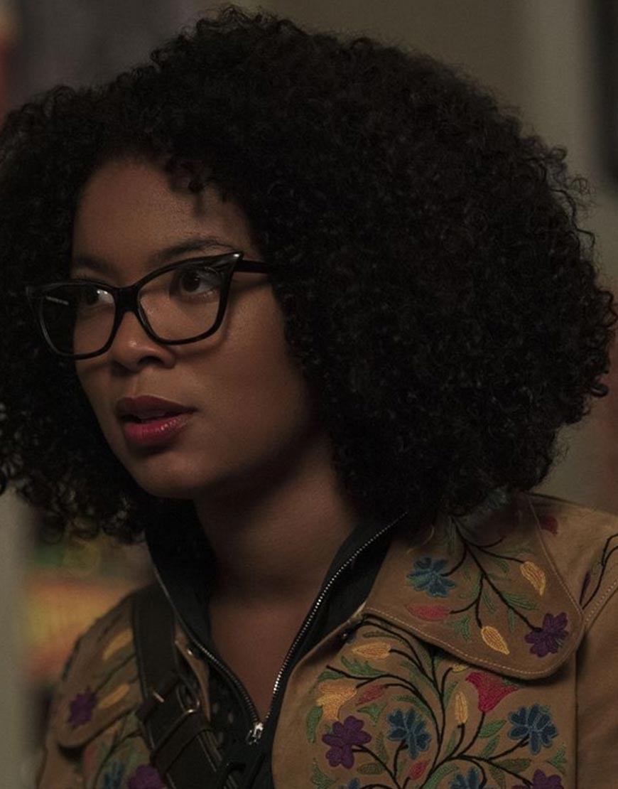 Chilling-Adventures-of-Sabrina-Jaz-Sinclair-Flower-Design-Brown-Jacket