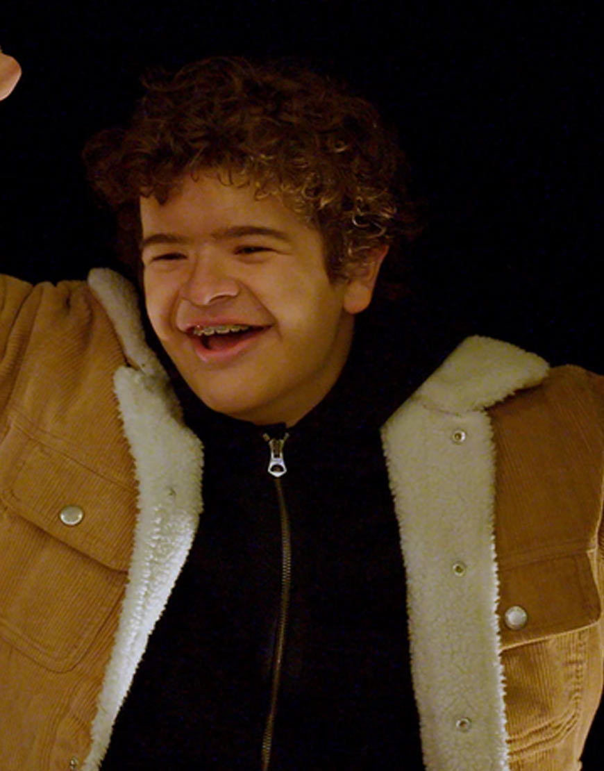 Gaten-Matarazzo-Prank-Encounters-Brown-Corduory-Jacket