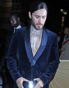 Jared-Leto-Brit-Awards-2019-Shawl-Collar-Velvet-Blazer-Suit-Coat