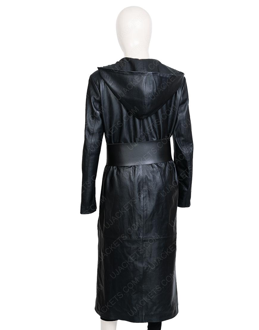 Regina King Angela Abar Watchmen Black Leather Hooded Coat