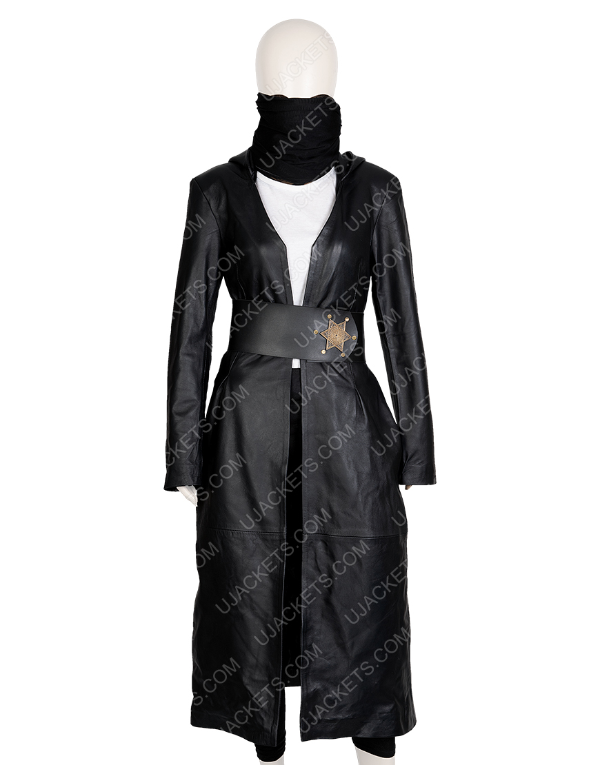 Regina King Angela Abar Watchmen Black Leather Hooded Trench Coat