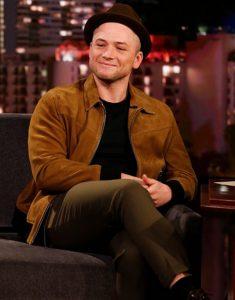 Taron-Egerton-Jimmey-Kimmel-Live-Show-Suede-Leather-Jacket
