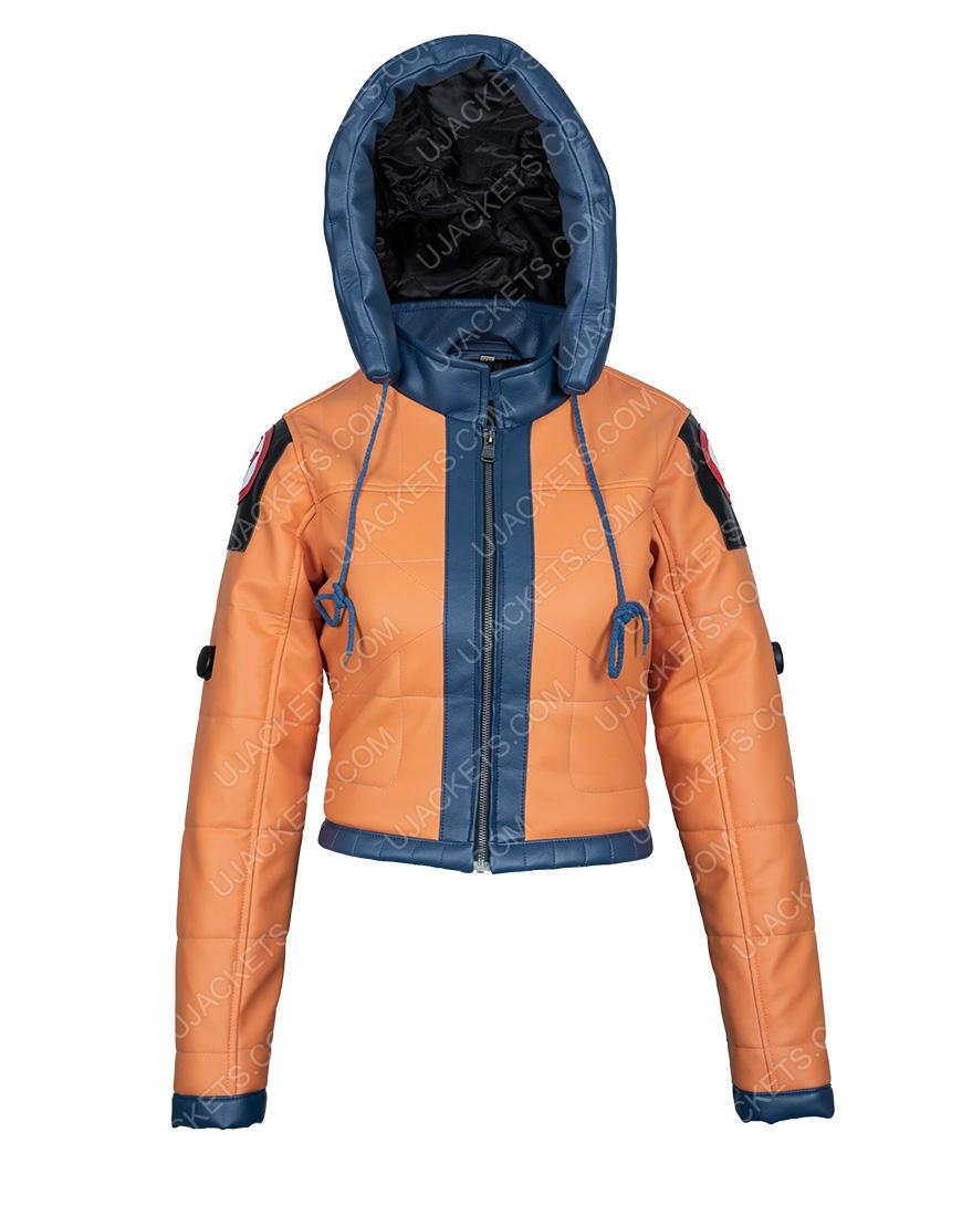 Wattson Apex Legends S02 Orange Leather Hoodie Jacket