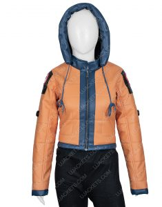Wattson Apex Legends Season 2 Orange Leather Hoodie Jacket