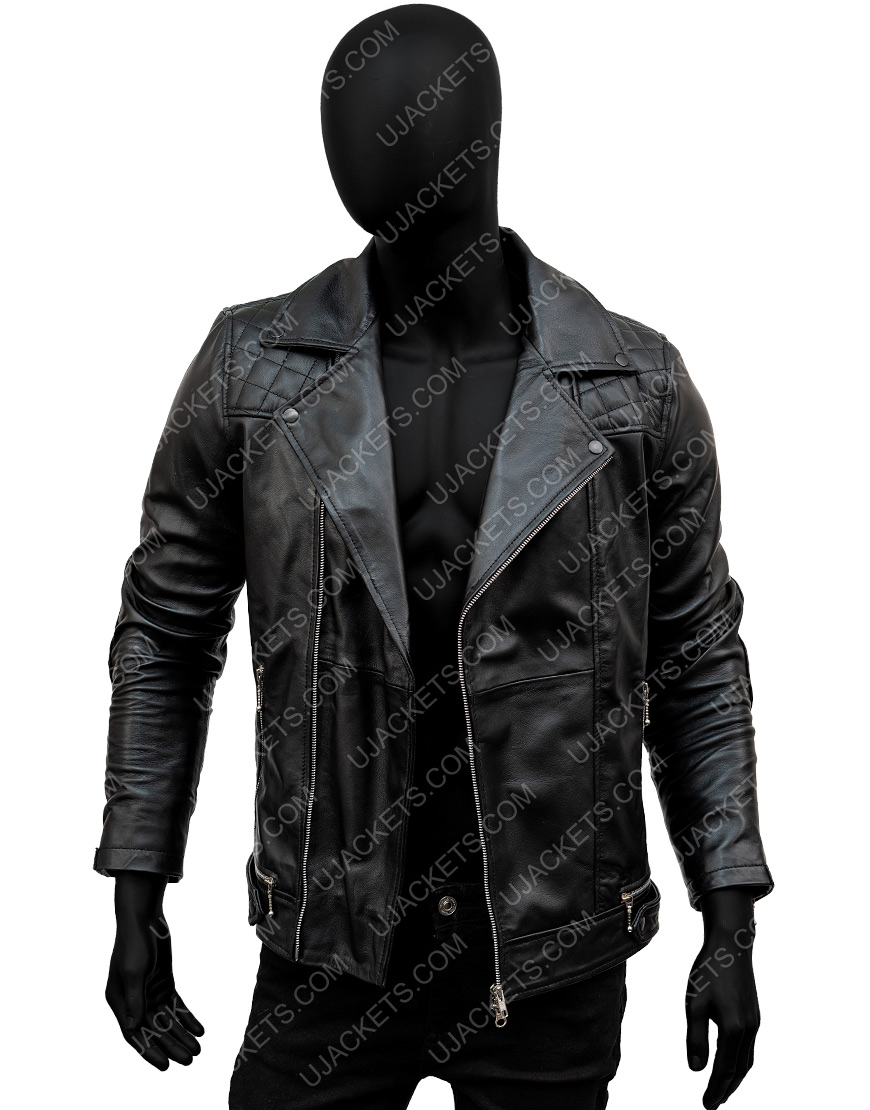 Aaron Paul Black Biker Quilted Leather Jacket