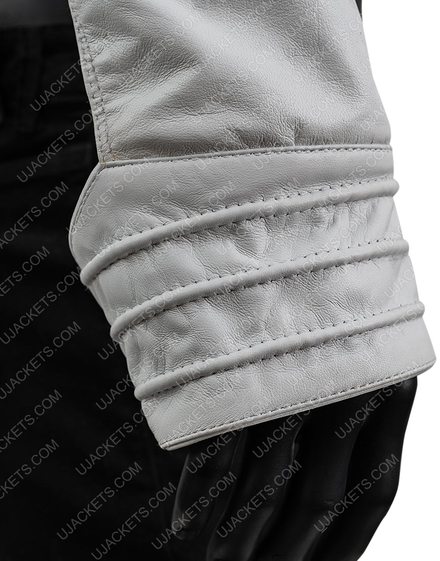 Angry Lizard Rami Malek White Leather Jacket