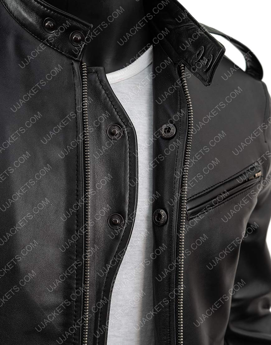 Antonio Dawson Black Leather Detective Jacket