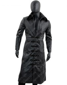 Black Mens Long Leather Trench Coat