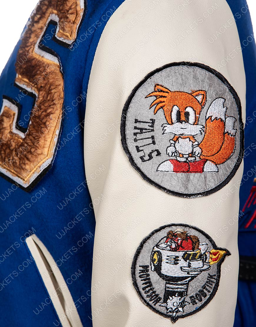 Blue and White Bomber Jacket Of Sonic The Hedgehog