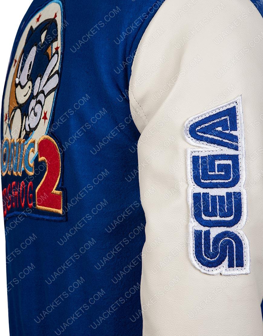 Blue and White Varsity Jacket Of Sonic
