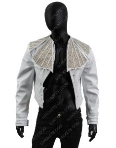 Bohemian Rhapsody Angry Lizard Rami Malek White Leather Jacket
