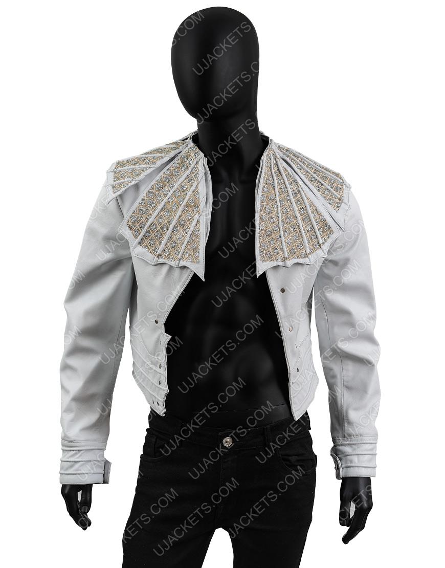 Bohemian Rhapsody Angry Lizard Rami Malek White Leather Jacket
