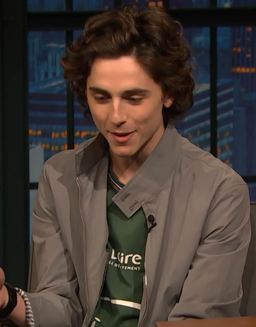Chalamet-Late-Night-with-Seth-Meyers-Cotton-Jacket