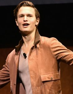 CinemaCon-2019-Ansel-Elgort-Brown-Jacket