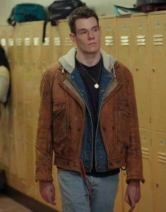 Connor-Swindells-Sex-Education-Brown-Leather-Jacket