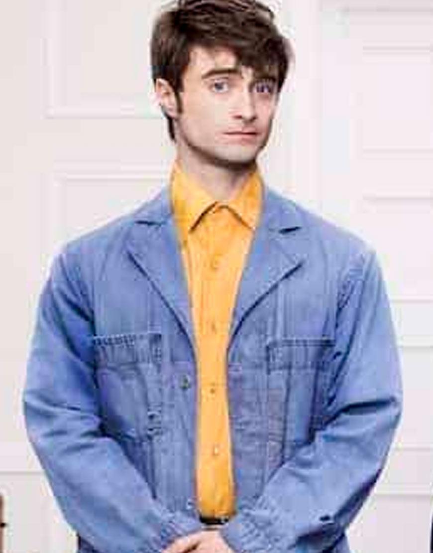 Daniel-Radcliffe-Miracle-Workers-Craig-Bog-Long-Denim-Jacket