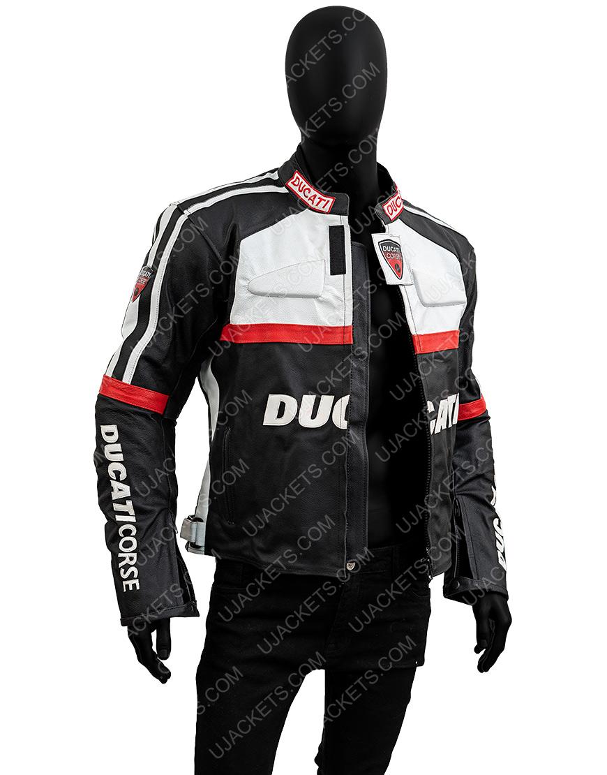 Ducati Corse Black and White Biker Jacket
