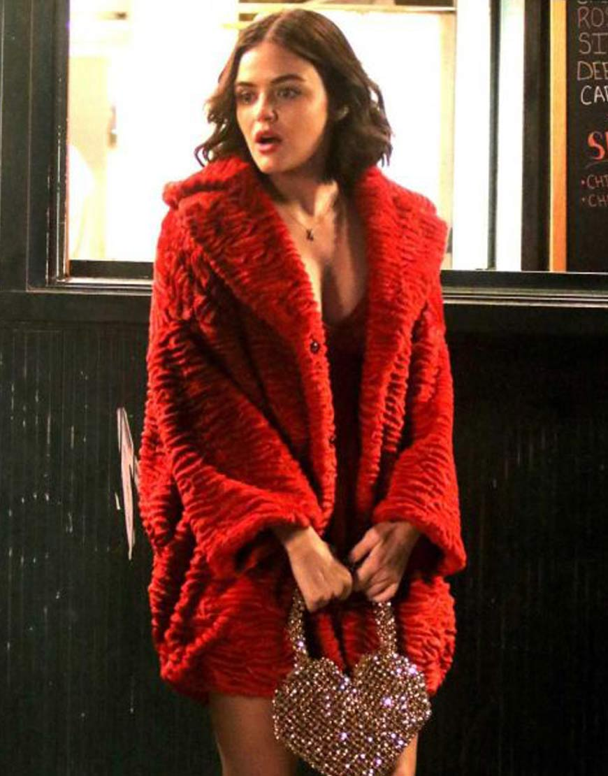 Lucy-Hale-Katy-Keene-Red-Faux-Fur-Coat