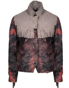 Maeve Wiley Sex Education Emma Mackey Fringed Leather Blazer Jacket