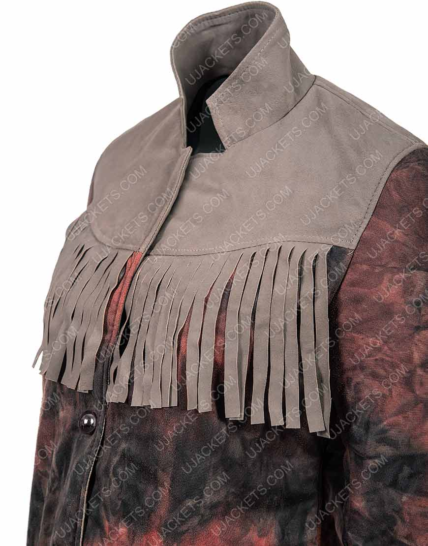 Maeve Wiley Sex Education Emma Mackey Fringed Leather Jacket