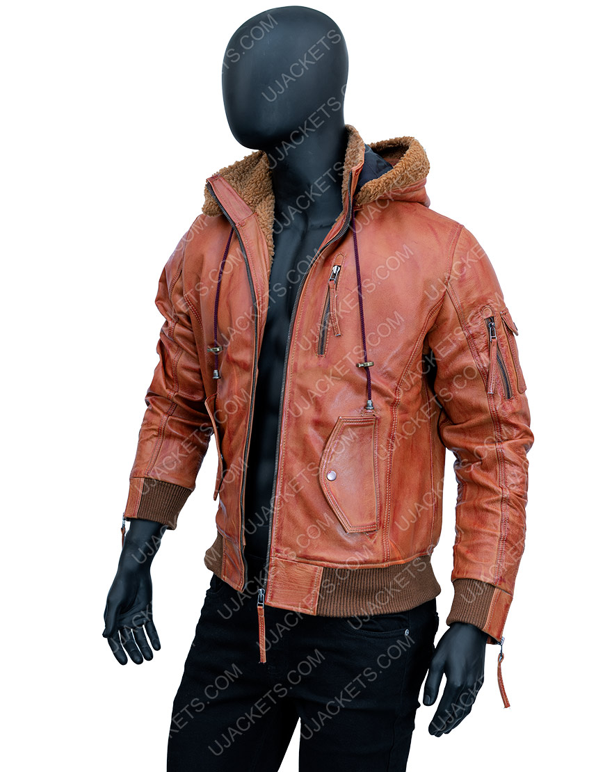 Men Brown Leather Jacket with Removable Hood