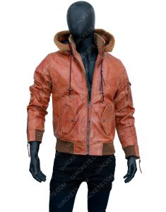 Men Brown Leather Motorcycle Jacket with Removable Hood