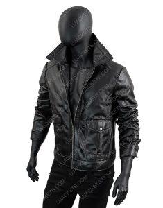 Men's Black Leather Motorcycle Hooded Jacket