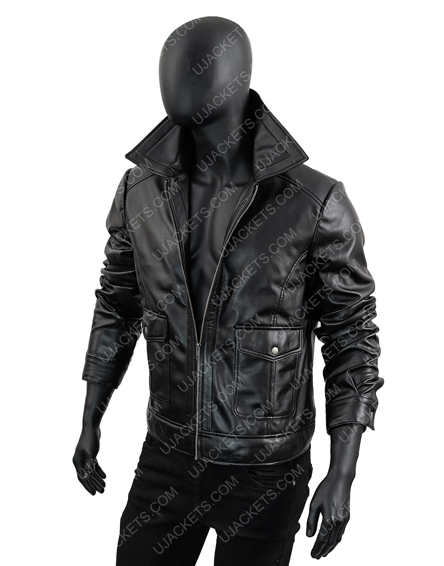 Men's Black Leather Motorcycle Hooded Jacket
