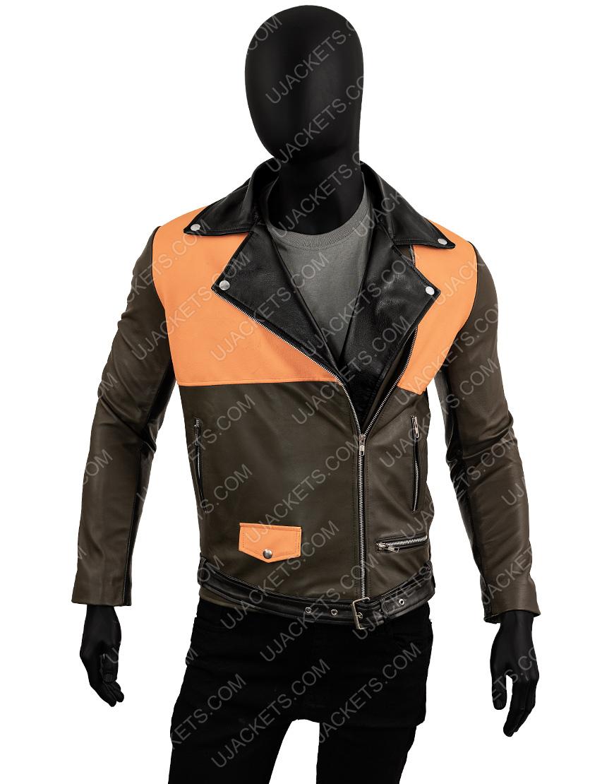 Men's Lapel Collar Biker Leather Jacket