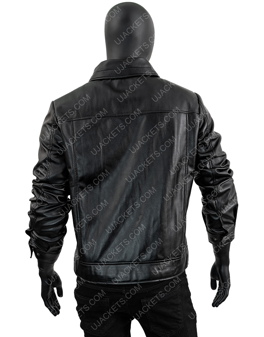 Men's Leather Motorcycle Hooded Jacket