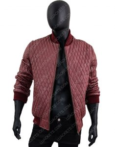 Men's Red Quilted Bomber Leather Jacket