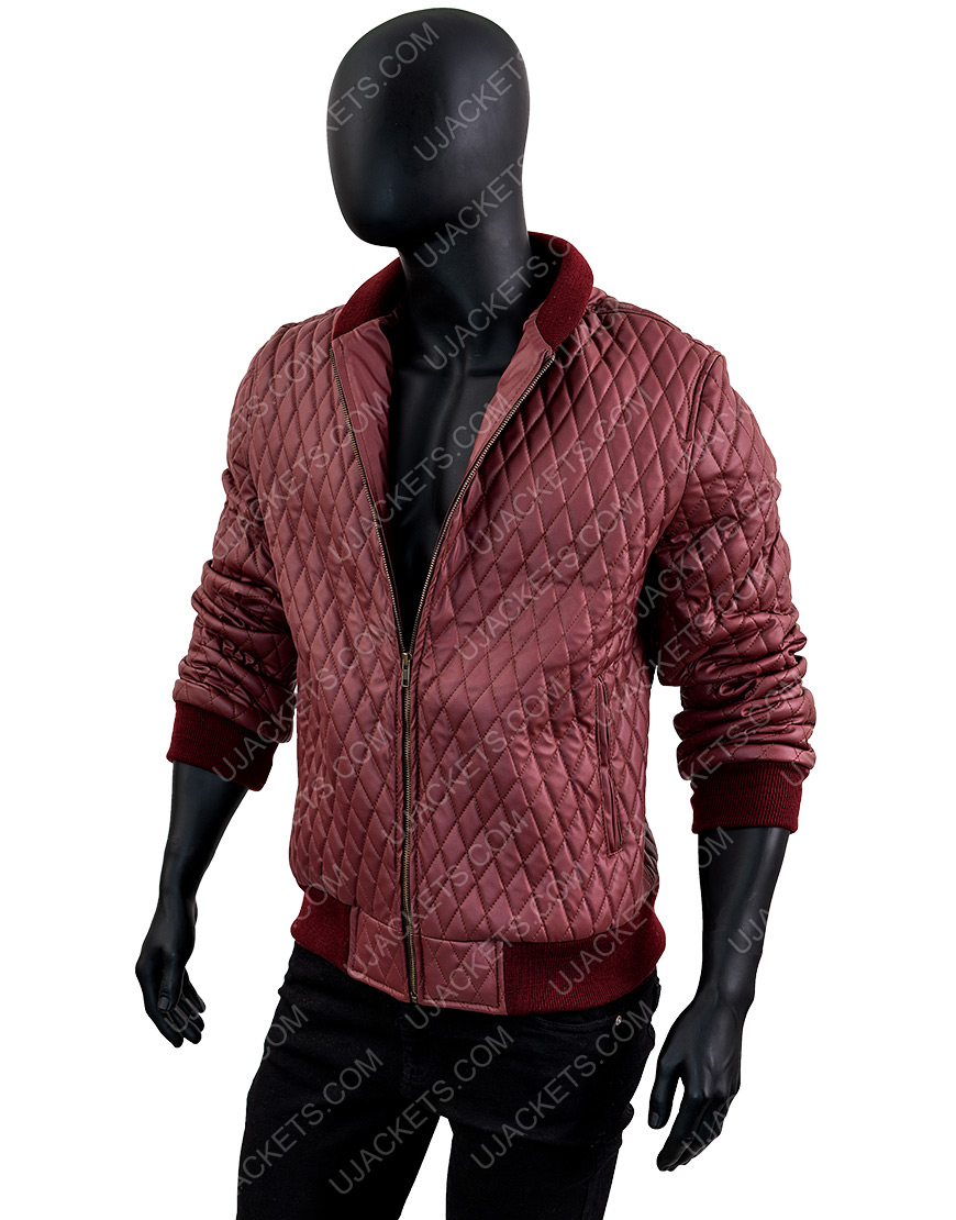 Men's Red Quilted Faux Bomber Jacket