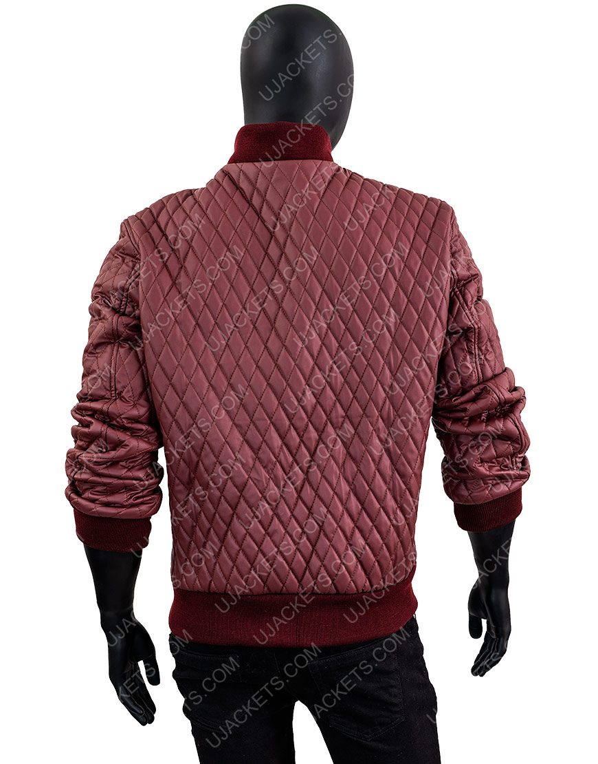Men's Red Quilted Faux Leather Jacket