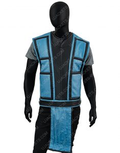 Mortal Kombat Sub Zero Black and Blue Leather Vest