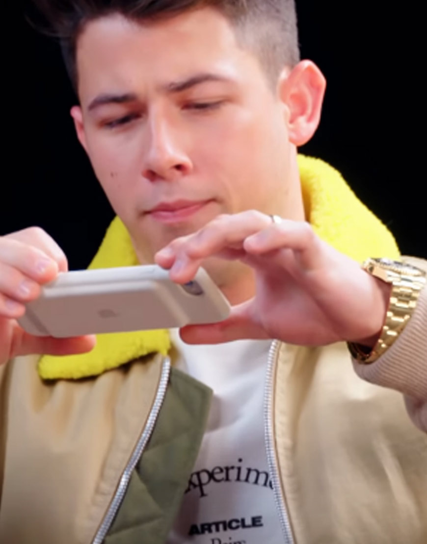 Nick-Jonas-Yellow-Collar-Brown-Jacket