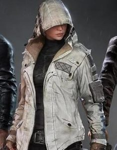 PUBG-Character-White-Leather-Hoodie-Jacket