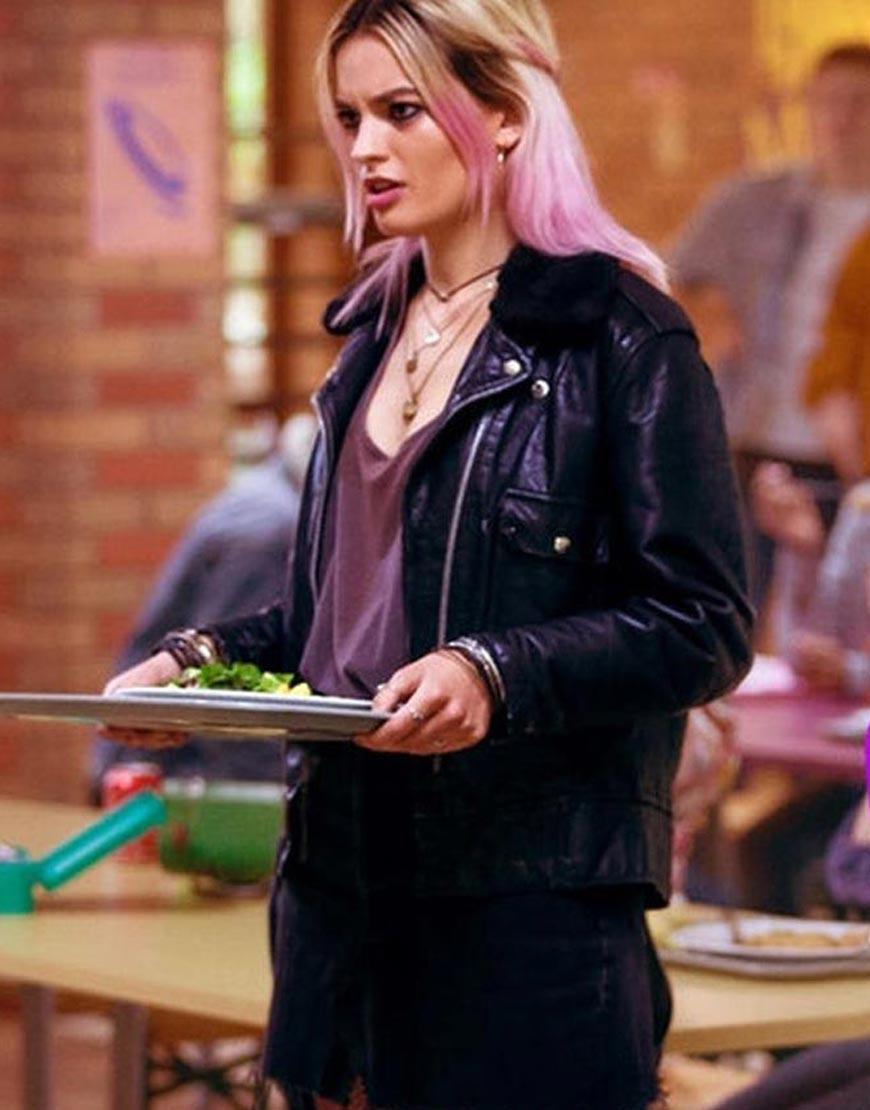Sex-Education-Emma-Mackey-Black-Leather-Jacket