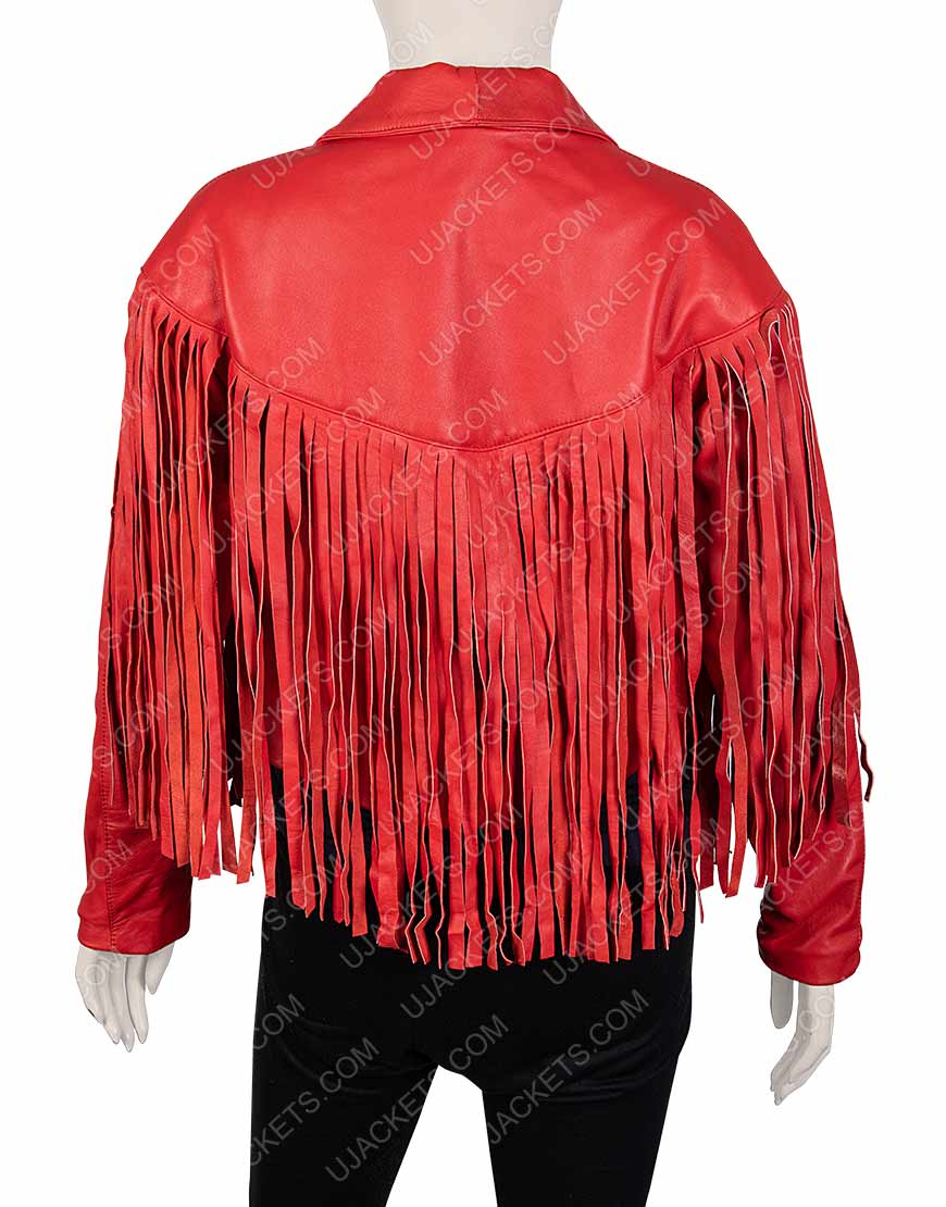 Women's Red Fringed Jacket