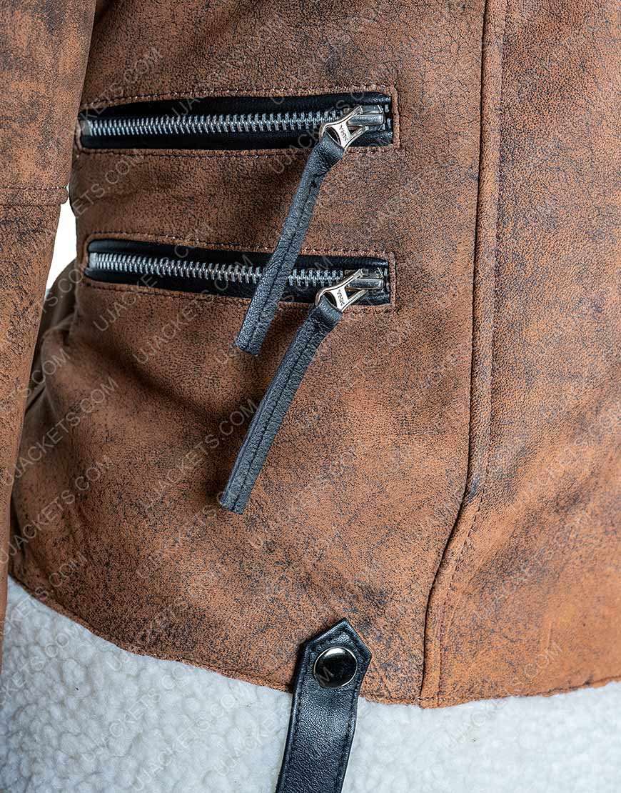 Alexandra Breckenridge Virgin River Brown Shearling Jacket