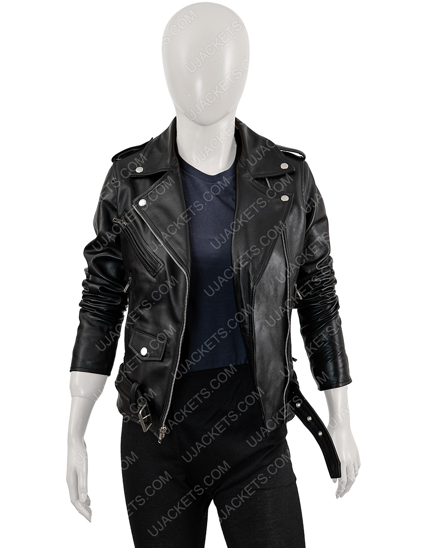 Asymmetrical Black Motorcycle Jacket For Women