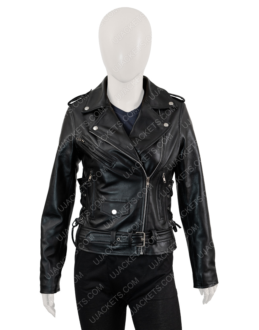 Asymmetrical Black Motorcycle Leather Jacket For Women
