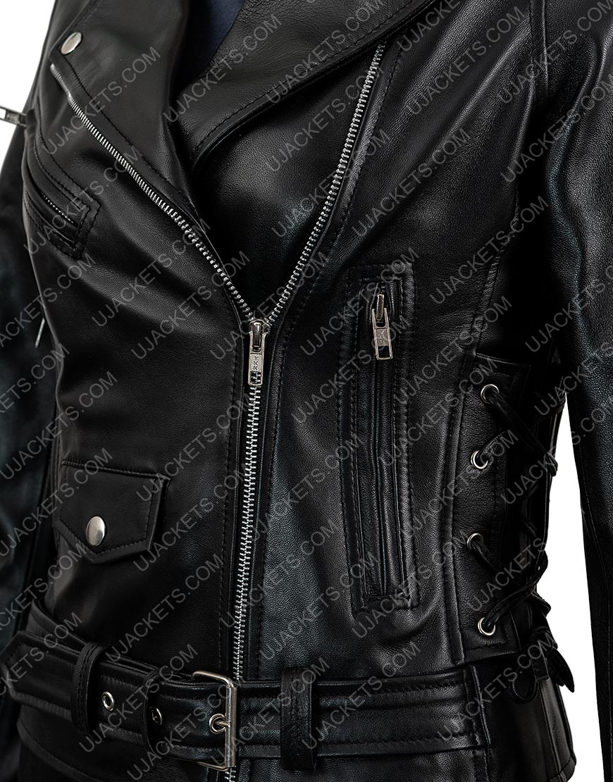 Black Motorcycle Leather Jacket For Women