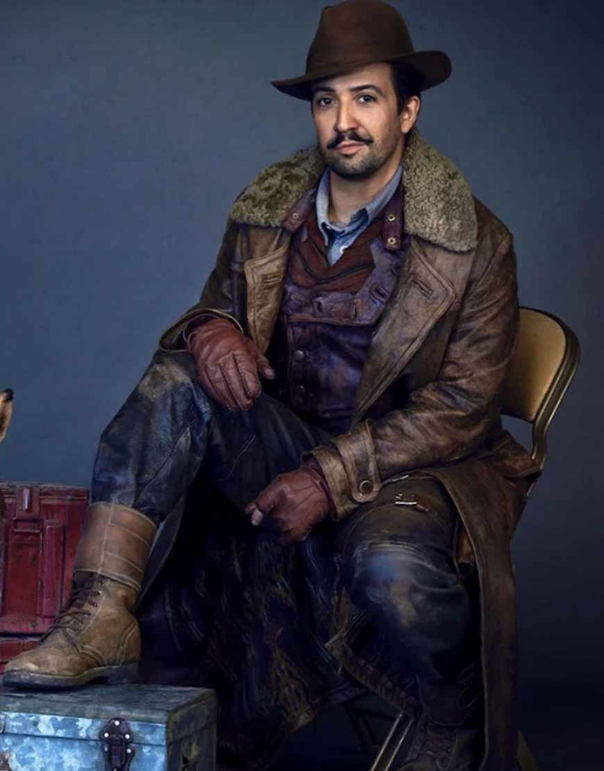 His-Dark-Materials-Lin-Manuel-Miranda-Brown-Leather-Long-Coat