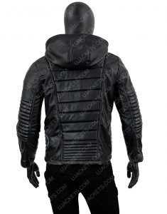 Jamie Bower The Mortal Instruments Black Leather Hooded Jacket